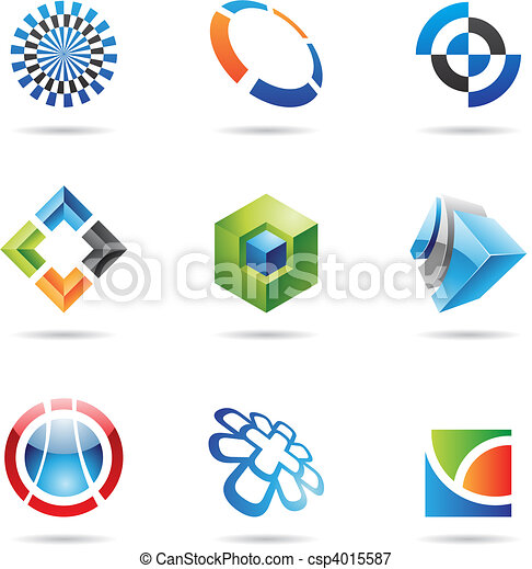 Various colorful abstract icons, Set 24 - csp4015587