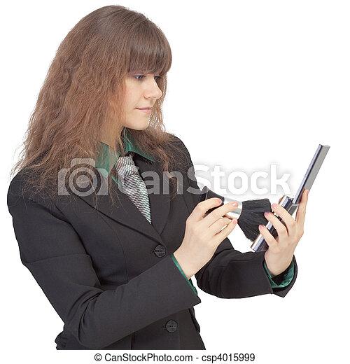 mulher,  corrects, cosméticos, ligado, rosto - csp4015999