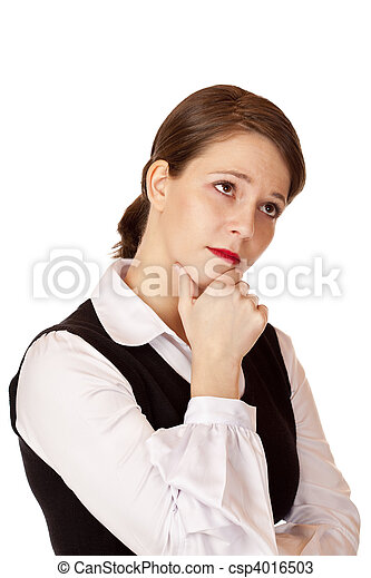 Contemplative business woman with crossed arms thinks about problem solving. - csp4016503