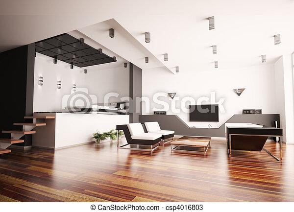 zeichnungen von inneneinrichtung wohnung modern 3d modern wohnung csp4016803 suchen. Black Bedroom Furniture Sets. Home Design Ideas