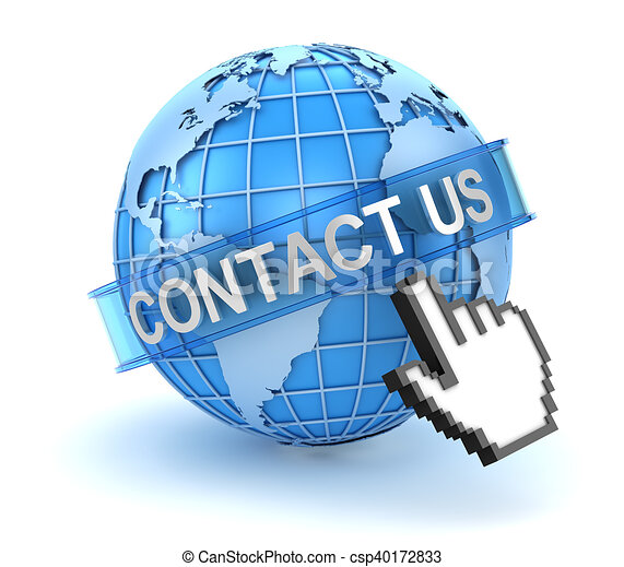 Contact us concept with world and hand cursor - csp40172833