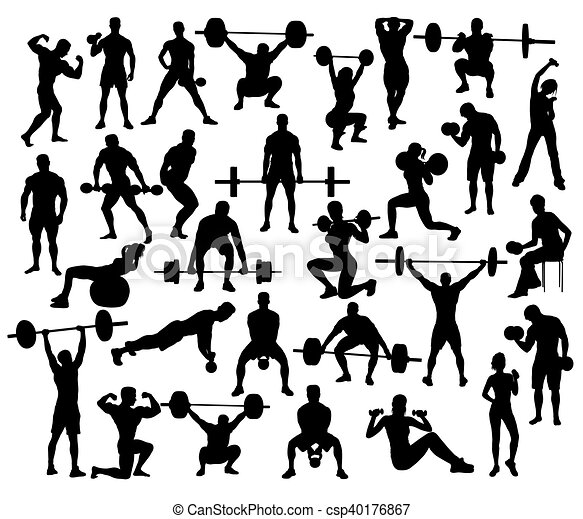 Power Lifting Silhouettes - csp40176867
