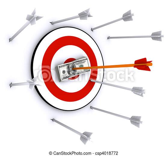 Arrow hit 100 US dollars stack  - csp4018772