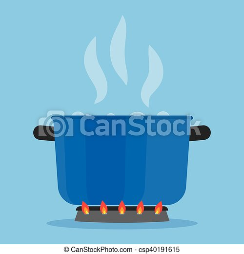 Boiling water in pan on stove in the kitchen - csp40191615