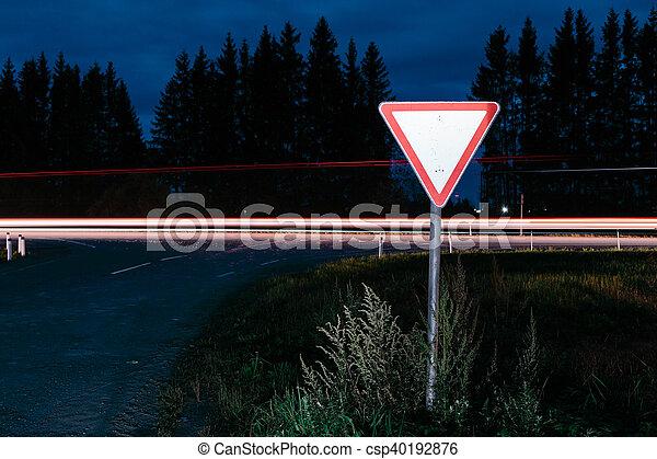 Road sign give way - csp40192876