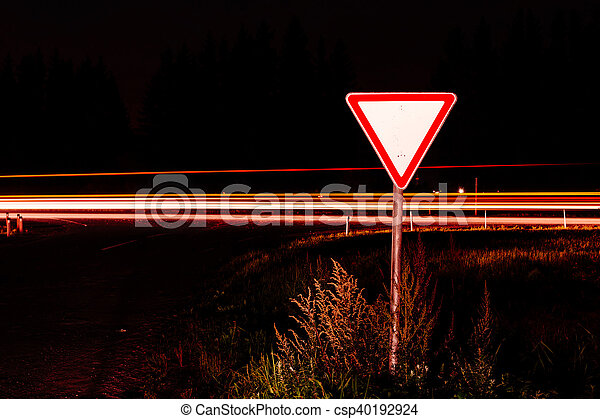 Road sign give way - csp40192924