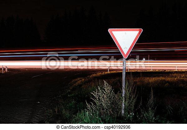 Road sign give way - csp40192936