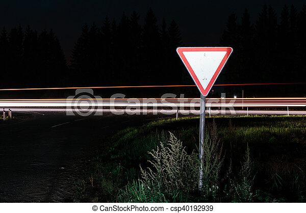 Road sign give way - csp40192939