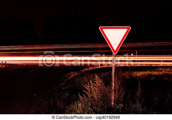 Road sign give way - csp40192949
