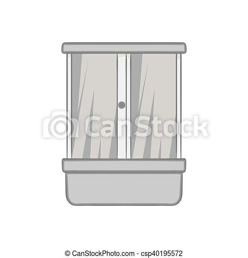 illustrations vectoris es de style douche noir ic ne monochrome cabine douche. Black Bedroom Furniture Sets. Home Design Ideas