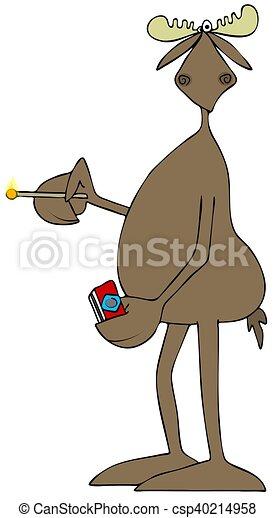 Bull moose holding a lit match - csp40214958