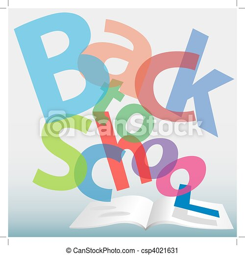 BACK TO SCHOOL words text book pages - csp4021631