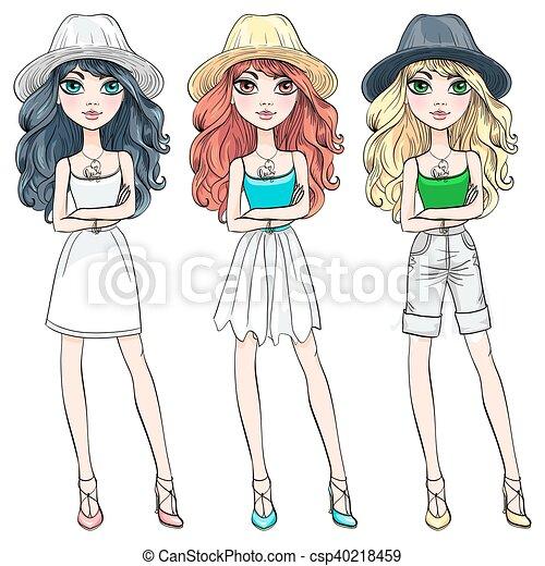Vector beautiful fashion girl in hat - csp40218459