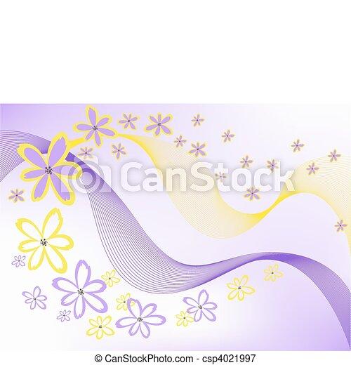 flowers on purple background - csp4021997