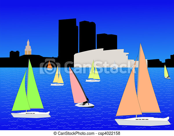 Miami skyline and yachts - csp4022158