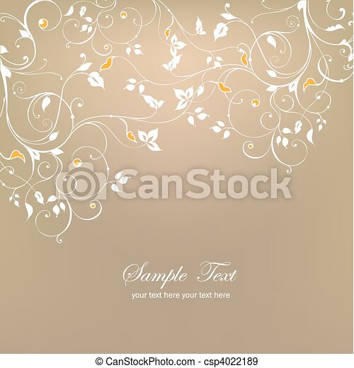 Decorative floral background. Vector - csp4022189
