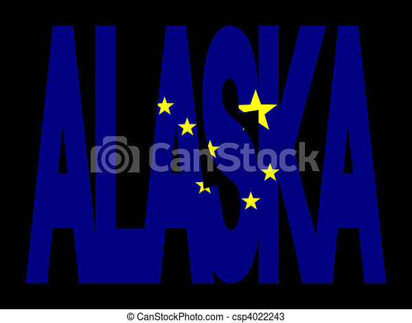 Alaska with their flag - csp4022243