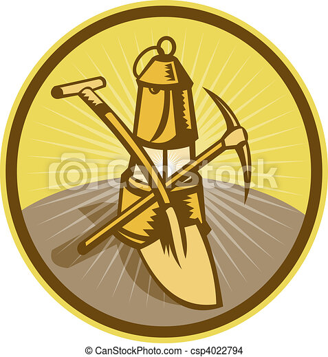 Mining or miner\'s lamp with shovel and pick axe - csp4022794