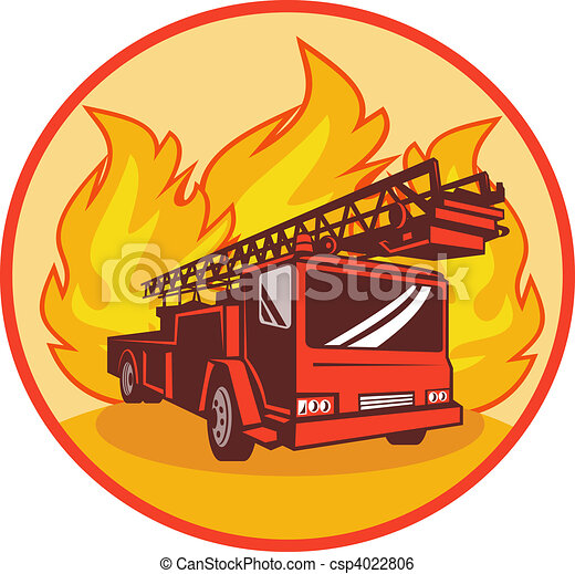Fire truck or engine with flames in background set inside a circle. - csp4022806
