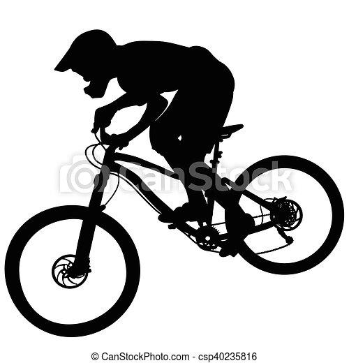 Clip art vecteur de pente montagne silhouette v lo course v lo course csp40235816 - Dessin velo vtt ...