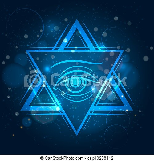 Double triangle and eye sign - csp40238112