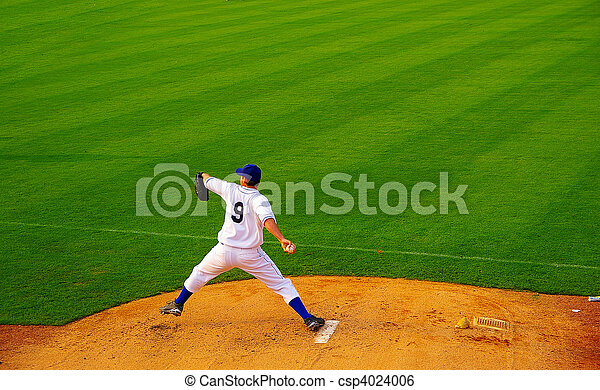 Pro baseball  pitcher throwing the ball from the mound - csp4024006