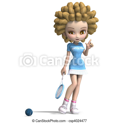 funny cartoon girl with curly hair plays tennis. 3D rendering and shadow over white - csp4024477
