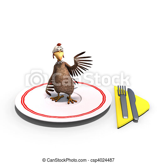 cute and funny toon chicken served on a dish as a meal. 3D rendering and shadow over white - csp4024487
