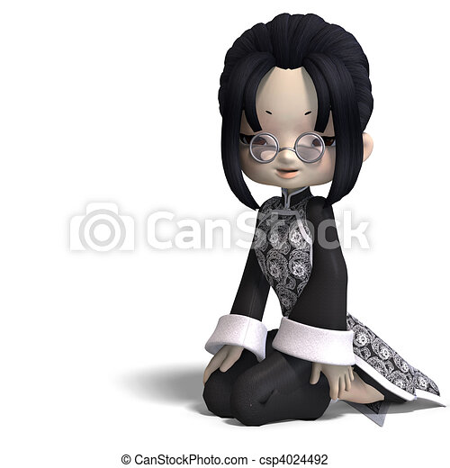 funny cartoon girl from china. 3D rendering and shadow over white - csp4024492