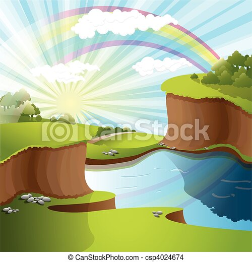 river and rainbow - csp4024674