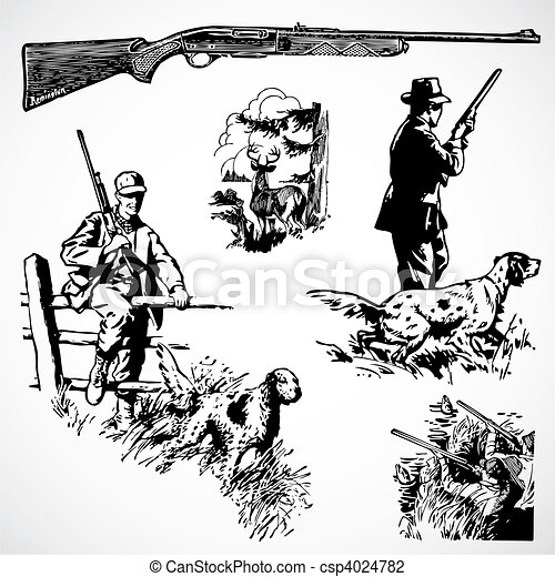 Vector Vintage Hunting Rifles and Graphics - csp4024782