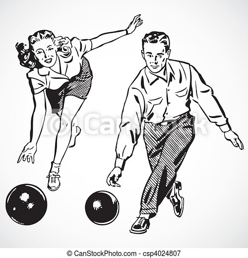 Vector Vintage Bowling Couple - csp4024807