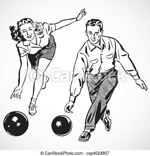 Vector Vintage Bowling Couple - csp4024807