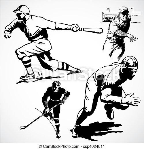 Vector Vintage Athletes - csp4024811