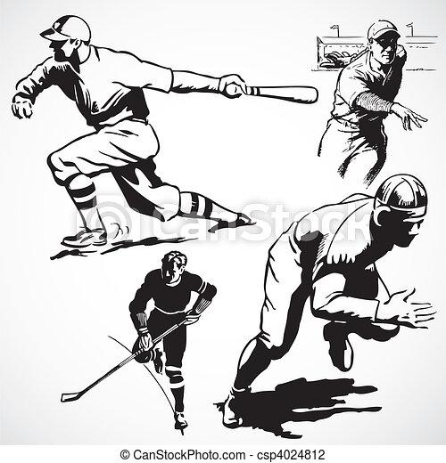 Vector Vintage Athletes - csp4024812