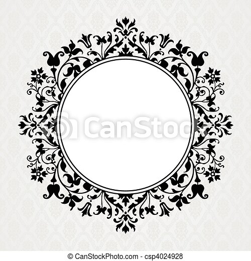 Vector Floral Circle Frame - csp4024928
