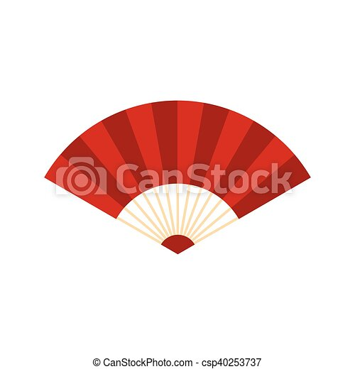 Vectors of Red japanese fan icon, flat style - icon in flat style ...