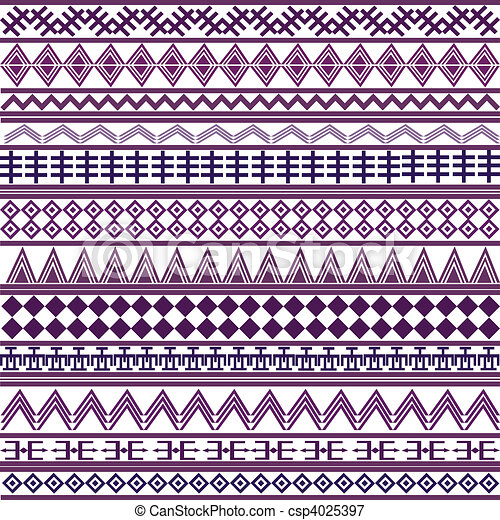 Background with geometrical shapes, purple African motives - csp4025397