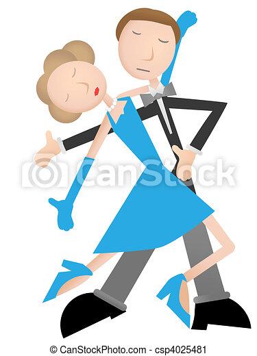 pareja, bailando, tango, azul, Vestido - csp4025481