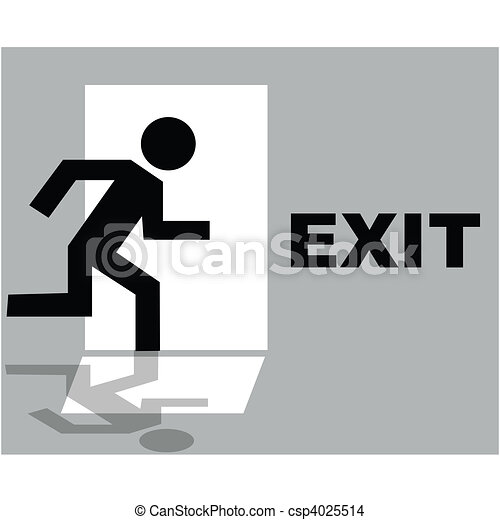Grey exit sign icon - csp4025514