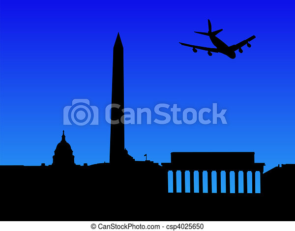 plane arriving in Washington DC - csp4025650