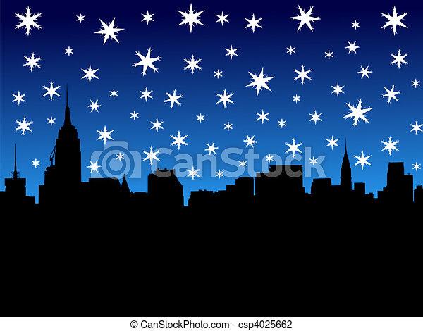 Midtown Manhattan in winter - csp4025662