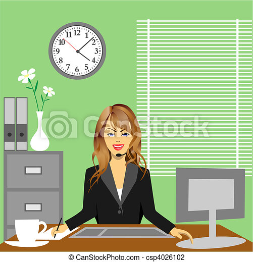 Vector Illustration Of Office A Woman In Office Sitting