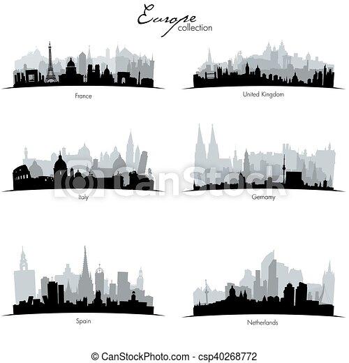 Vector european countries silhouettes - csp40268772
