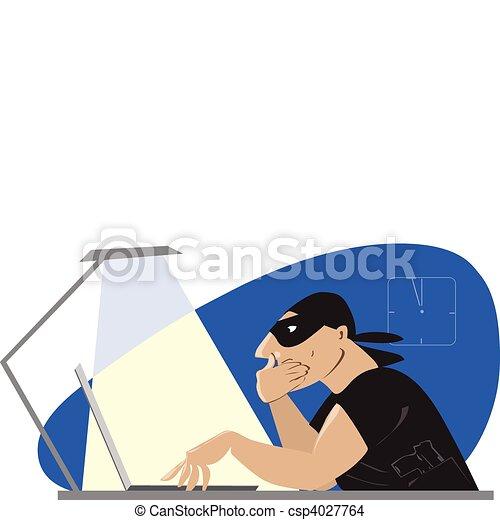 EPS Vector of Internet robber - Vector cartoon of a robber ...