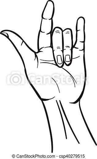 Clip art vecteur de dessiner hippie style signe main dessin anim sign csp40279515 - Dessin de mains ...