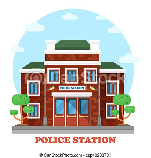 Polizeiwache clipart  Vektoren von gebäude, draußen, polizeiwache, außen ansicht ...