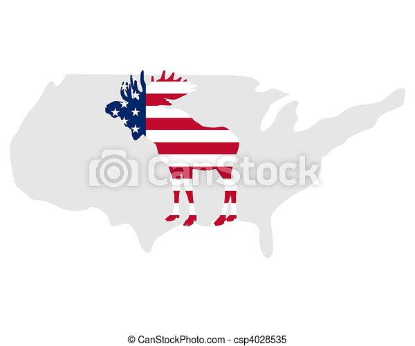 American moose - csp4028535