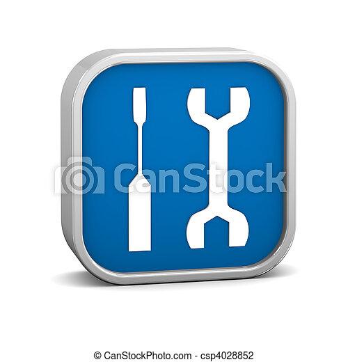 黑暗, 藍色, 工具, 簽署 - csp4028852