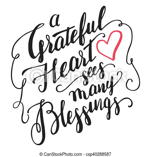 Vector of Grateful heart sees many blessings calligraphy - A ...
